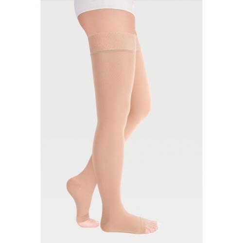 Чулки прозрачные с простой резинкой на силиконовой основе с открытым носком на широкое бедро ID-310TW